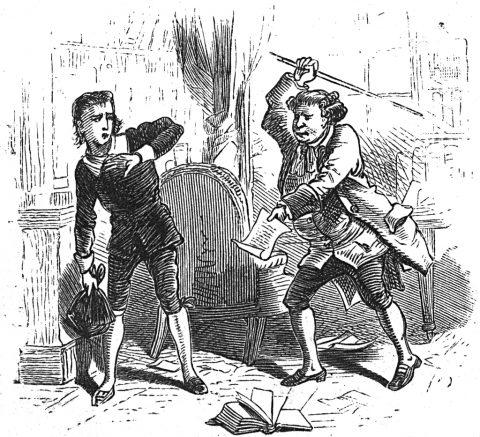 Angry man punishing boy