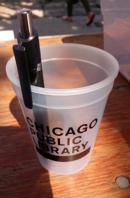 Chicago Public Library pen and cup