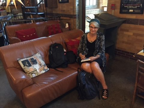 Barbara Sibbald on the couch at the Staircase Theatre in Hamilton
