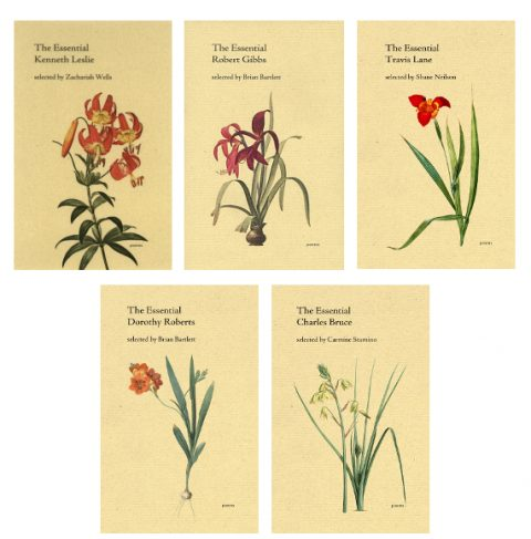 Covers for Essential Poets volumes on Kenneth Leslie, Robert Gibbs, Travis Lane, Dorothy Roberts and Charles Bruce