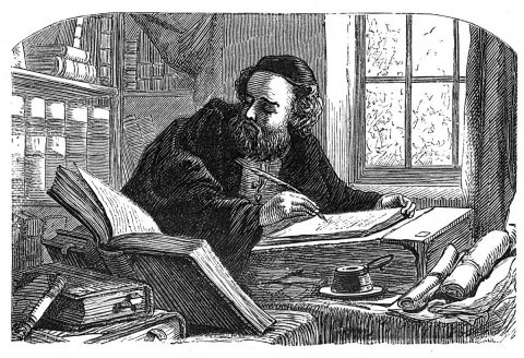 man copying from a book using a quill