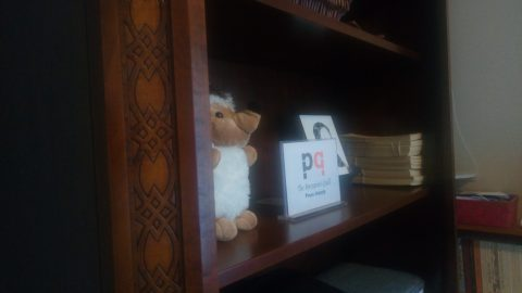 detail of bookshelf with stuffed hedgehog/porcupine and PQL sign