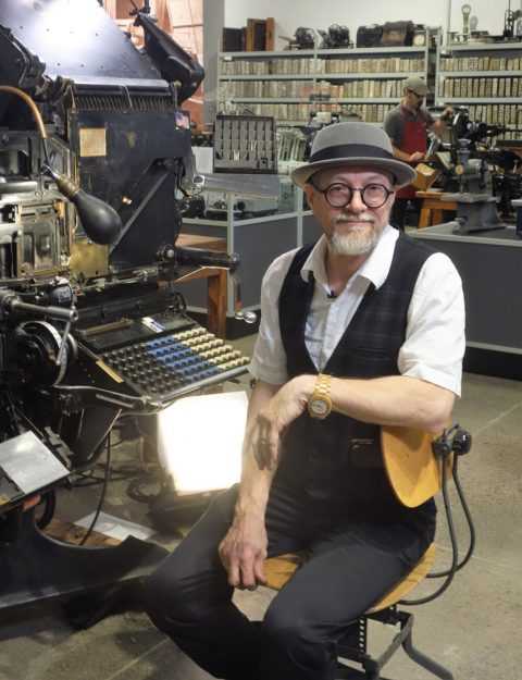 George A. Walker at the Linotype