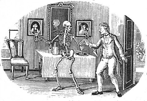 Skeleton and man in front of table.