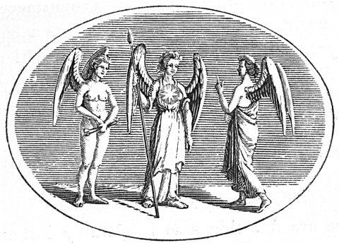 Genius, Virtue, Reputation in angelic form