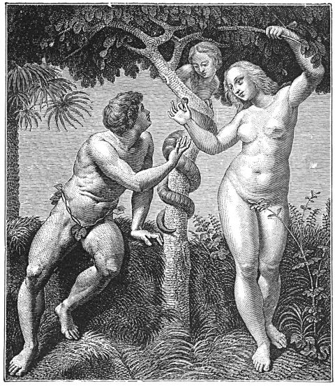 Adam, Eve and serpent in the Garden of Eden
