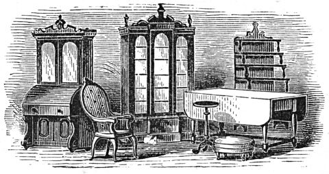 bookcases, chairs and tables grouped tightly together