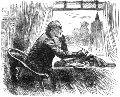 scholar sitting at writing desk and gazing out the window