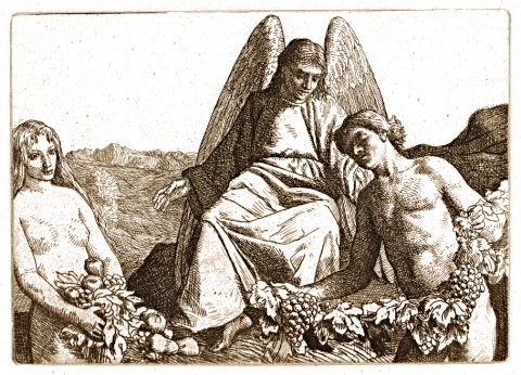 A male and a female, holding bunches of fruit, stand at the feet of an angel.