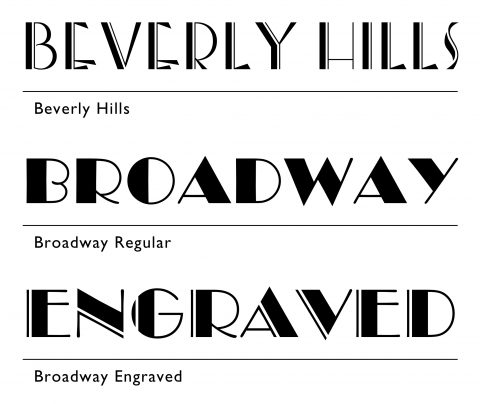 Specimens of Beverly Hills, Broadway Regular and Broadway Engraved Typefaces