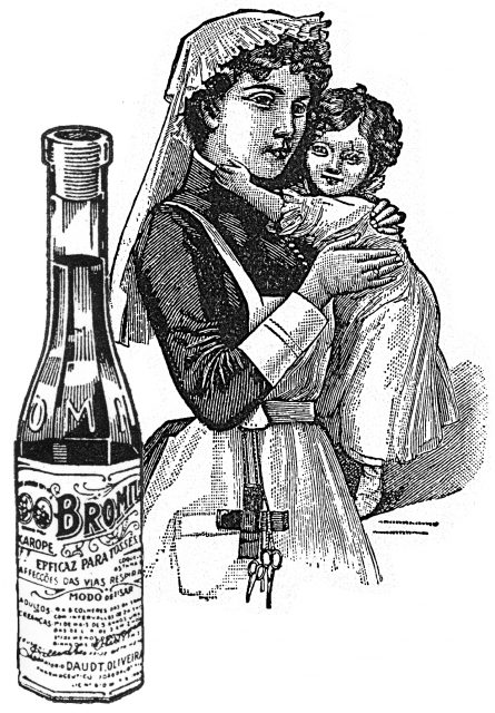 bromide bottle ad featuring woman holding child in the background