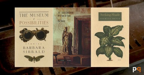Image featuring book covers of The Museum of Possibilities, The Dodecahedron, and Seeking Shade